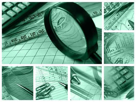 Business collage about reporting and accounting in greens.