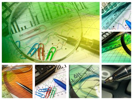 Business collage about reporting and accounting.