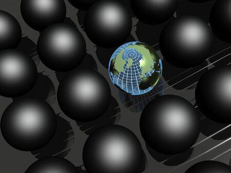 habitual: Earth balls and black balls on black reflective background.