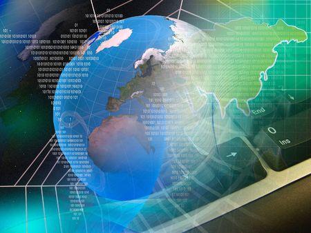 Global business - globe, digits and cobweb on space background.  photo