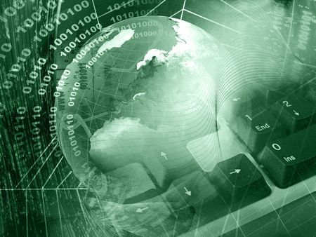 Communication background - globe and keyboard on digital background. Standard-Bild