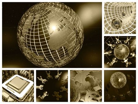 Network security: Framed computer collage - firewalled globe on space background.