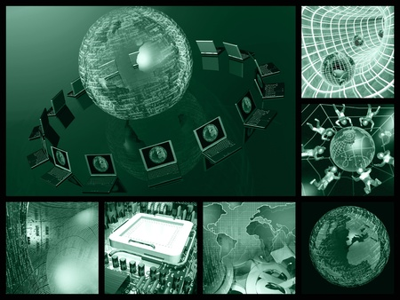 Collage about communication - notebooks and firewalled globe on black background. Stock Photo - 8257818