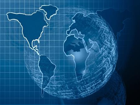 Fondo de equipo abstracto - mapa y esfera digital. Foto de archivo - 8454171