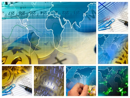 Business collage about reporting and analysis, mosaic.