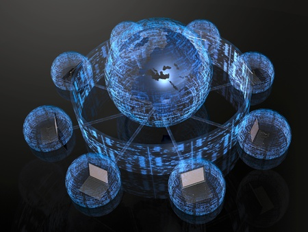 Network - notebooks and blue firewalled globe on black background.