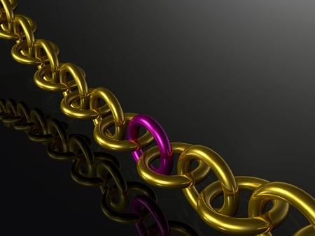 Gold chain with pink central link, white background.