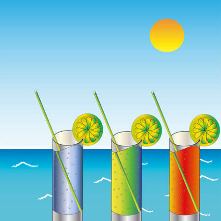 Three glasses with lemons on sea background Vector