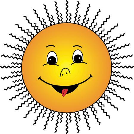 irradiate: Sun sonrisa en fondo blanco - ilustraci�n vectorial. Vectores
