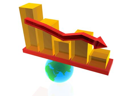 fluctuation: Balance - statistic bars on the globe. Stock Photo