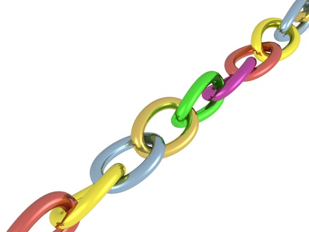 Chain with color links, white background.