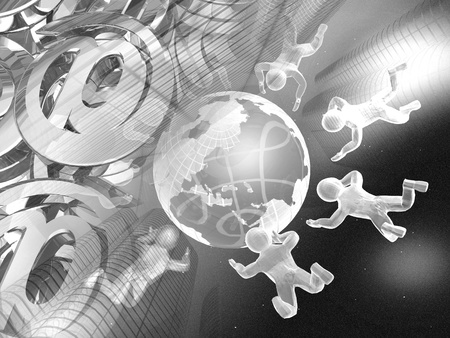 Abstract computer background - mans, mail symbols and globe. Stock Photo - 9025842