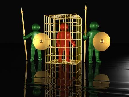 imprisoned: Imprisoned man and guardians, black background.