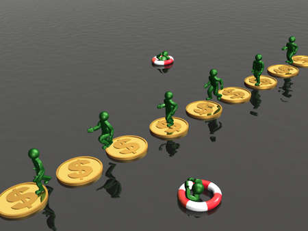 misfortune: Mans jumping on gold coins - metaphor. Stock Photo
