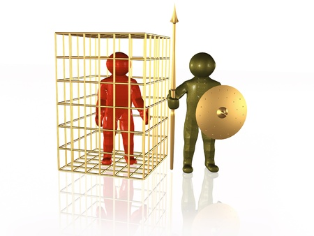 Imprisoned man and guardian, white background. Stock Photo - 9041509