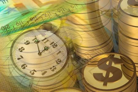 Grafik, Lupe, Geld und Uhr, collage über Analyse. Standard-Bild - 9155044