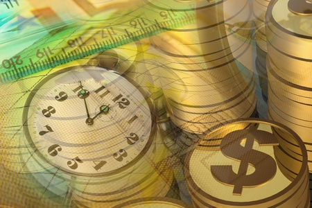 Graphic, magnifier, money and clock, collage about analysis. Stock Photo
