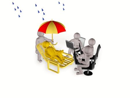 eminent: Mans with umbrella and laptops on white reflective background. Stock Photo