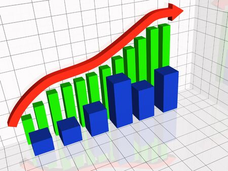 Business picture about analysis - graph and arrows. Stock Photo - 9646240