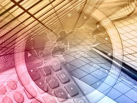 contabilidad financiera cuentas: Gr�fico, regla, l�piz y calculadora, collages sobre contabilidad.