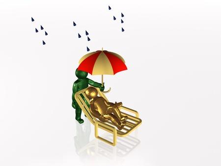 eminent: Man with umbrella on white reflective background. Stock Photo