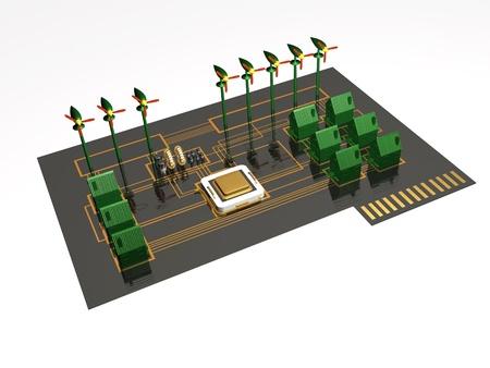 Smart-Siedlung - Häuser, Prozessor und elektronischen Komponenten auf der Platte. Standard-Bild - 9734904