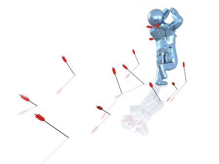 bombardment: White reflective background with man protruded by arrows. Stock Photo