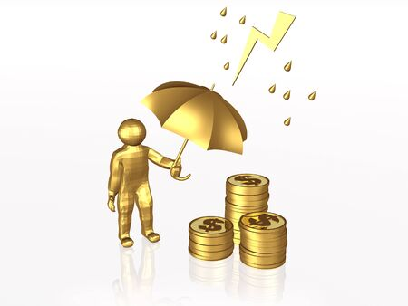 Man with umbrella and coins on white reflective background. Stock Photo - 9734997