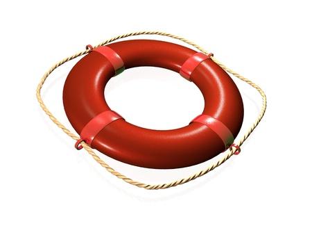Life buoy on white background.