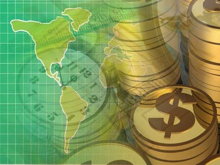 Monedas y mapa, collage sobre presentación de informes en verdes. Foto de archivo - 10318994