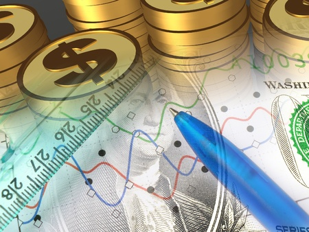 A pen with money against statistic chart - abstract business background. Standard-Bild