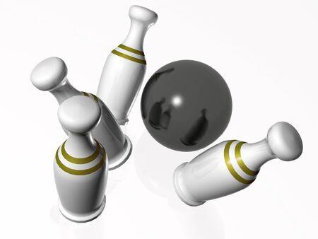 vehemence: White skittles and ball on white background.
