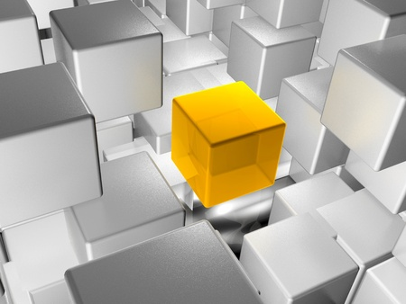Abstract background - yellow and grey cubes on white.