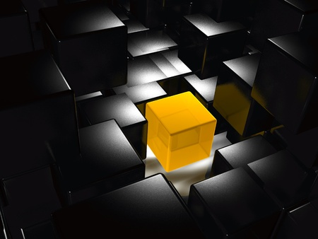 important: Abstract background - yellow and black cubes.