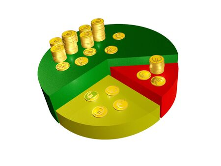 Business picture about analysis - graph and coins. Stock Photo - 10675891