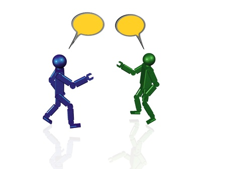 Two speaking robots on white background. Stock Photo - 10675895