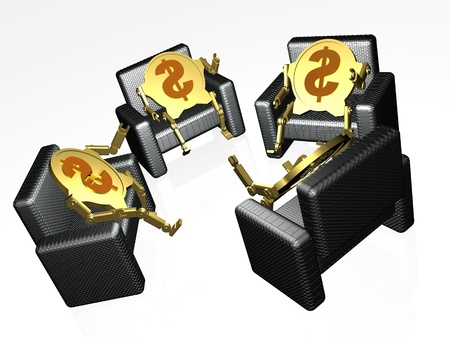 chear: Dollar coins on chairs, white background.