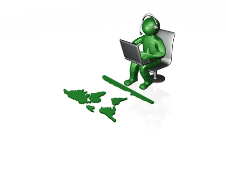 Network - isolated man with laptop on white. Stock Photo - 10835661