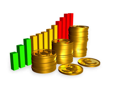 Business picture about analysis - bars and coins.