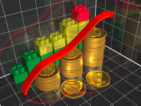 Business picture about analysis - graph and coins. Stock Photo - 11327168