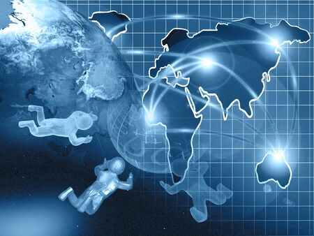 Abstract computer background - globe, map and mans, in blues. Stock Photo - 11327198
