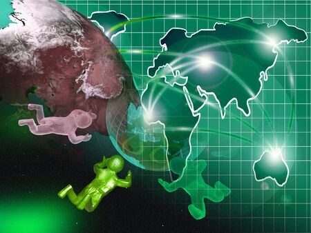 Abstract computer background - globe, map and mans. Stock Photo - 11591017