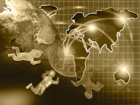 Abstract computer background - globe, map and mans, collage in sepia. Stock Photo - 11591032