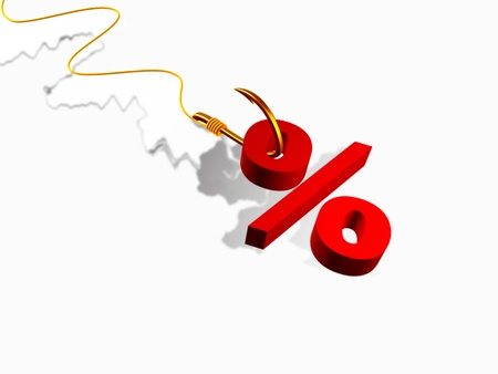 servitude: Hook with percent sign on white background. Stock Photo