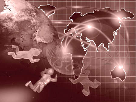 Abstract computer background - globe, map and mans, collage in reds. Stock Photo - 11791301