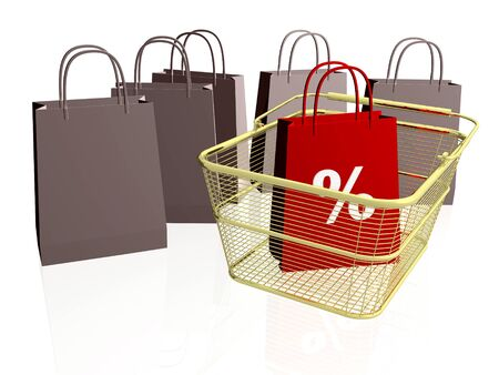 Shop bags and basket on white background. Stock Photo - 11791310