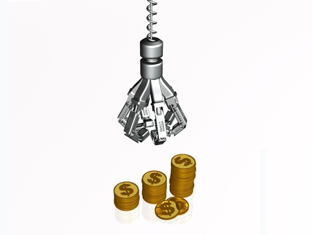 pincher: Pincher for money on white background - allegory. Stock Photo