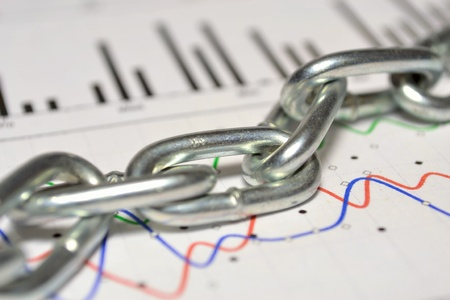 servitude: Business picture with graph and chain - allegory.