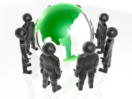Network - globe and mans on white. Stock Photo - 11980188