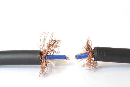 Two pieces of audio cable on white background. Stock Photo - 12011272